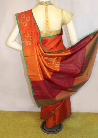 Orange with Pink shade Organza Cotton Sarees- FP10475 ARRS Silks