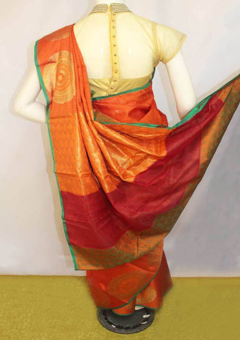 Orange with Pink shade  Organza Cotton Sarees- FP10482 ARRS Silks