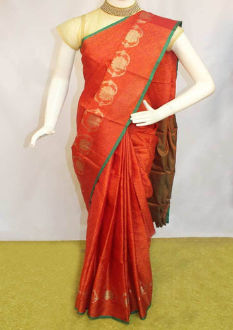 Orange with Pink shade Organza Cotton Sarees- FP10485 ARRS Silks