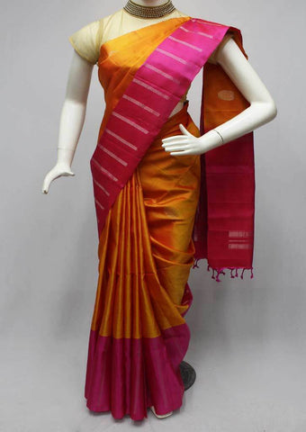 Orange with Pink Soft Silk Saree -FQ110852 ARRS Silks