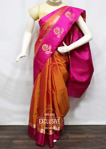 Orange With Pink Soft Silk Saree - FU44250 ARRS Silks