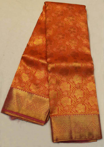 Orange with Pink Wedding Silk Saree - EF4258 ARRS Silks