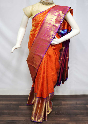 Orange with Purple Pattu Saree - FQ102806 ARRS Silks