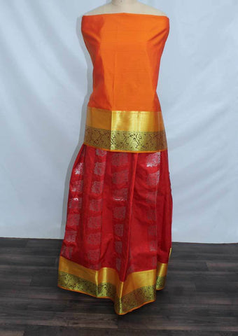 Orange With Red Coloured Pattu Pavadai Material - FP4283 (Size:  13Yrs to 18Yrs) ARRS Silks