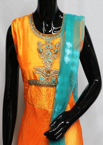 Orange With Sky Blue Readymade Salwar- FN44207 ARRS Silks