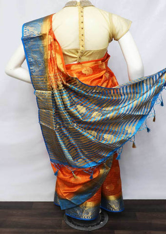 Orange With Sky Blue Semi Raw Silk Saree - HBN0005 ARRS Silks