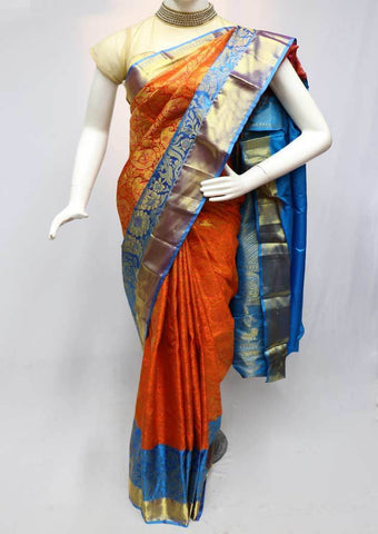 Orange with Skyblue  Kanchipuram Silk Saree -FR81184 ARRS Silks