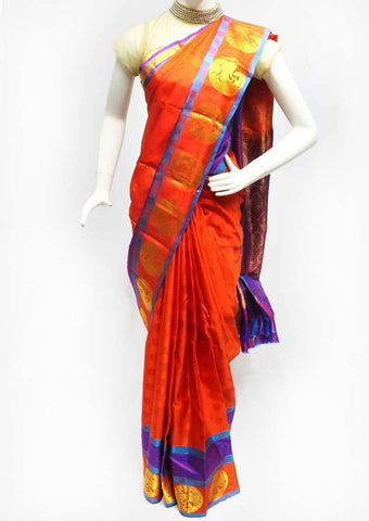 Orange with Violet Kanchipuram Silk Saree - FQ18334 ARRS Silks