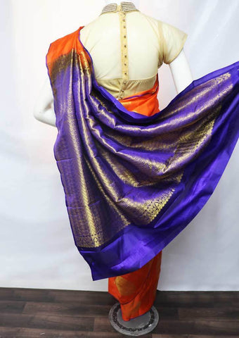 Orange with Violet Kanchipuram Silk Saree -HAZ10640 ARRS Silks
