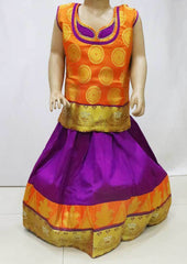 Orange with Violet  Pattu Pavadai - FR21812  (Size : 5 Years ) ARRS Silks