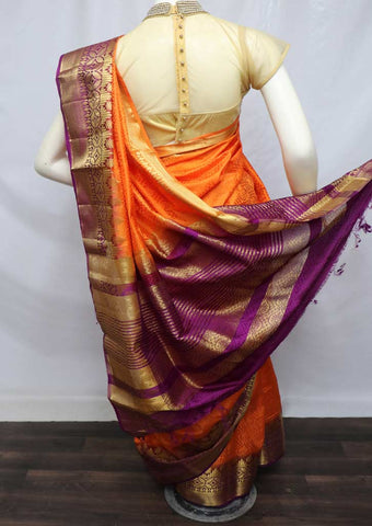 Orange with Violet Pure Raw Silk Saree - 005 ARRS Silks