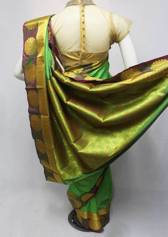 Parrot Green color Semi Silk Saree- FQ88223 ARRS Silks