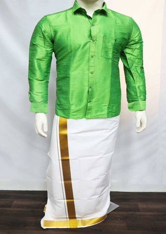 Parrot Green Full Hand Silk Cotton Shirt - FT5917 ARRS Silks