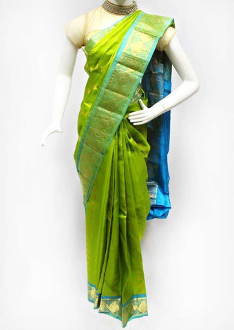 Parrot Green Kanchipuram Silk Saree - FQ31418 ARRS Silks