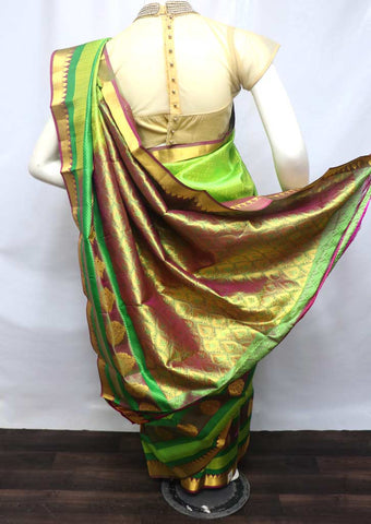 Parrot Green Kanchipuram Silk Saree - FV3374 ARRS Silks