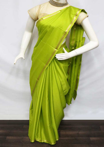 Parrot Green Mysore Silk Saree - GD28864 ARRS Silks