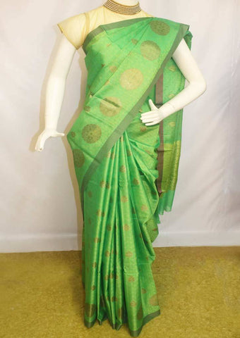 Parrot Green Organza Cotton Sarees- F087551 ARRS Silks