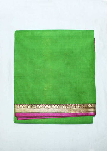 Parrot Green Pure Cotton 9.5 yards Saree - F096397 ARRS Silks