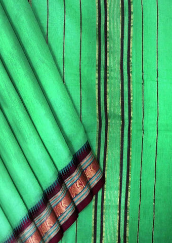 Parrot Green Pure Cotton 9.5 yards Saree - FT19645 ARRS Silks