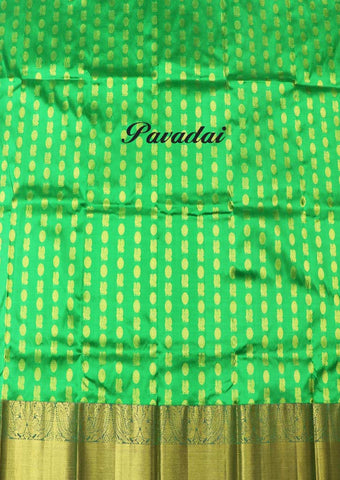 Parrot Green Pure silk Unstitched pattu pavadai - FT2393( Age-3 year to 6 years) ARRS Silks