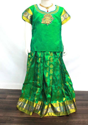 Parrot Green Readymade Pure silk pavadai  - DD20266 (Age - 8 years) ARRS Silks
