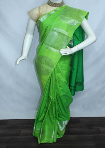 Parrot Green Semi Silk Saree- FO39042 ARRS Silks
