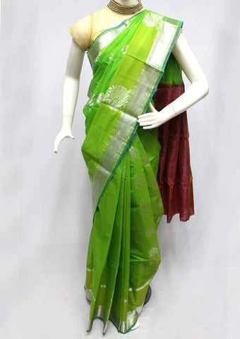 Parrot Green Silk Cotton Saree - FR29200 ARRS Silks