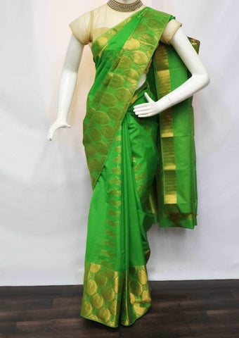 Parrot Green Silk Cotton Saree - FV28310 ARRS Silks