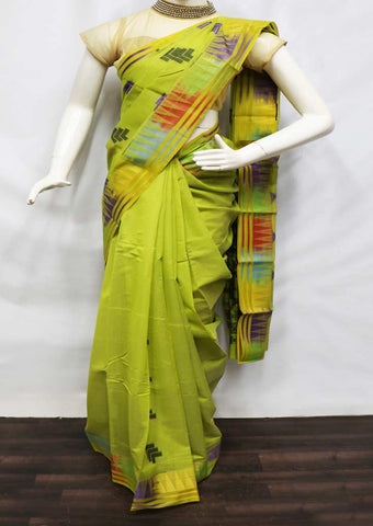 Parrot Green Silk Cotton Saree - FZ22647 ARRS Silks