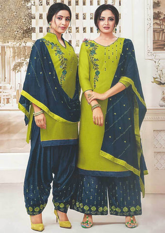 Parrot Green Unstitched Chudi - FR87559 ARRS Silks