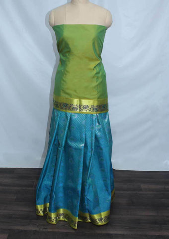 Parrot Green With Anandha Blue Coloured Pattu Pavadai Material - FP4333 (Size:  13Yrs to 18Yrs) ARRS Silks