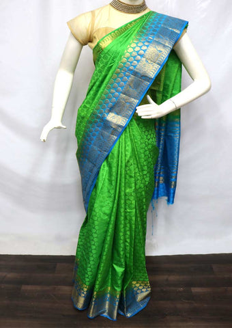 Parrot Green with Anandha Blue Pure Raw Silk Saree - 002 ARRS Silks