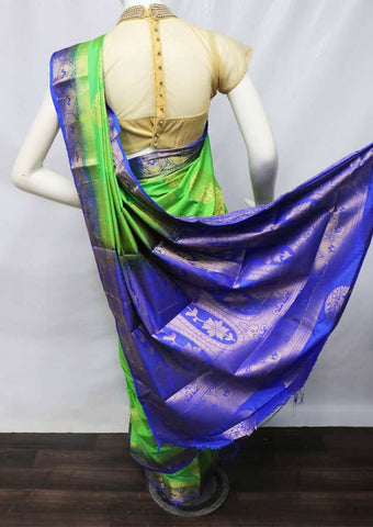 Parrot Green with Blue Semi Raw Silk Saree - HBN13605 ARRS Silks