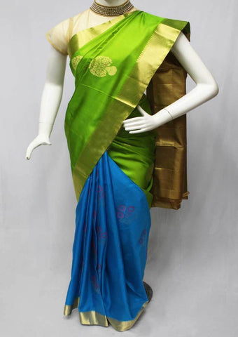 Parrot Green with Blue Soft Silk Saree -FA3782 ARRS Silks