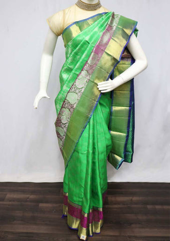 Parrot Green with Blue Wedding Silk Saree - 9KA4078 ARRS Silks