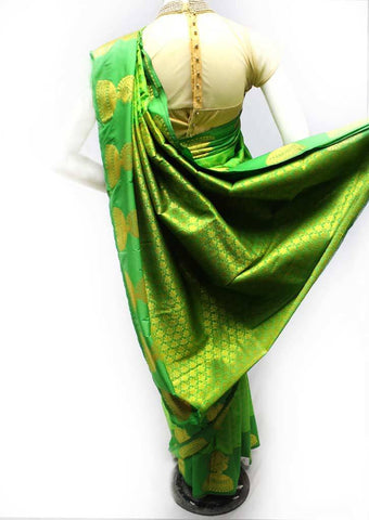 Parrot Green with Gold Semi Silk Saree- FQ88210 ARRS Silks
