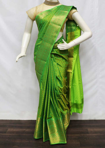 Parrot Green with Golden semi silk saree  - FZ43958 ARRS Silks