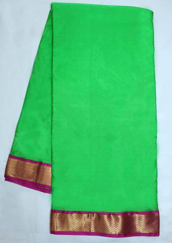 Parrot Green with Majenta Coloured 9.5 Yards Silk Saree - FP53514 ARRS Silks