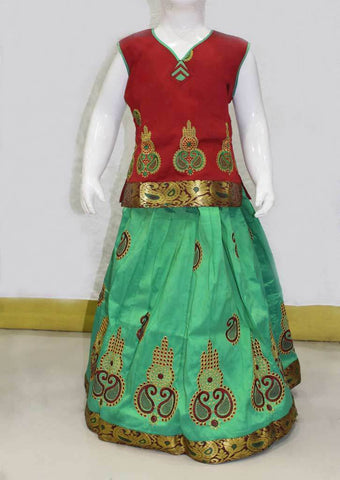 Parrot Green with Maroon Pattu Pavadai - FN24303 ARRS Silks