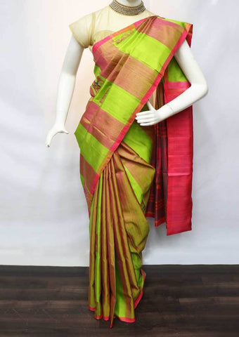 Parrot Green With Peach Jute Soft Silk Saree - FU45236 ARRS Silks