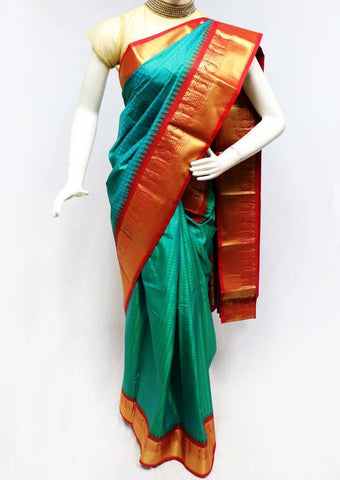Parrot green with Peacock Blue Shade Semi Silk Saree- FS43797 ARRS Silks