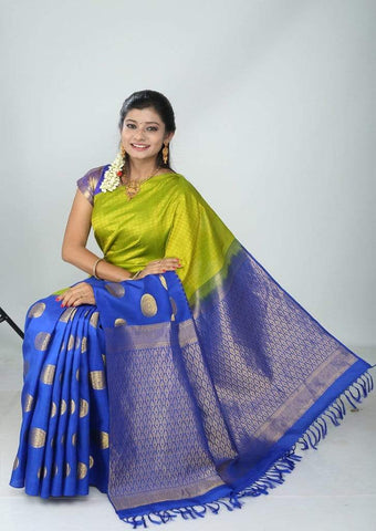 Parrot Green With Pepsi blue Kanchipuram Silk Saree - FG5772 ARRS Silks