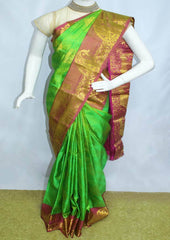 Parrot Green With Pink  Kanchipuram Silk Saree-FI16708 ARRS Silks