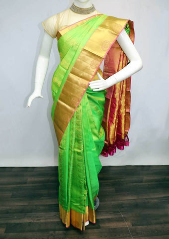 Parrot Green with Pink Kanchipuram Silk Saree -FQ18328 ARRS Silks