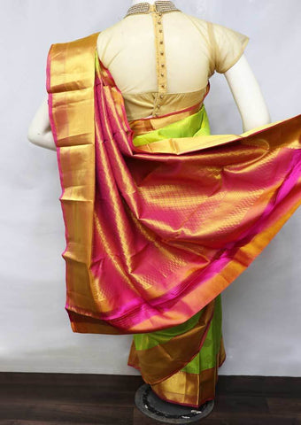 Parrot Green With Pink Kanchipuram Silk Saree -FQ22669 ARRS Silks