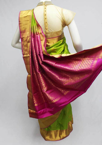 Parrot Green with Pink Kanchipuram Silk Saree-FQ31364 ARRS Silks