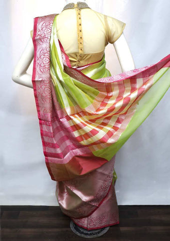 Parrot Green with Pink  Organza Cotton Sarees - FV20321 ARRS Silks
