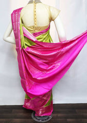 Parrot Green with Pink Pure Raw Silk Saree - FN44791 ARRS Silks