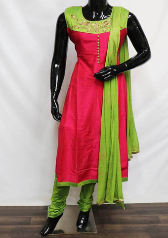 Parrot Green With Pink Readymade Salwar- FV32821 ARRS Silks