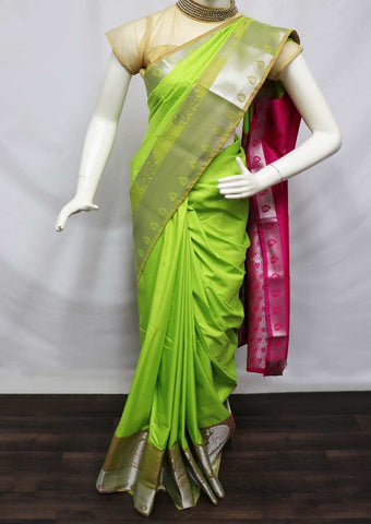 Parrot Green With Pink semi silk saree  - FO39040 ARRS Silks